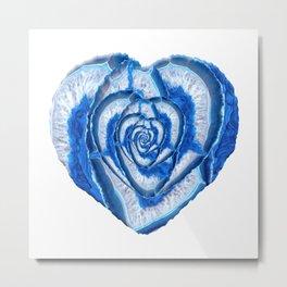 Blue Agate Geode Crystal Heart Metal Print