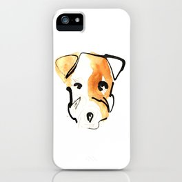 Black Ink and Watercolor Jack Russell Terrier Dog iPhone Case