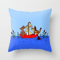 tigger Throw Pillows featuring Floating umbrella by BlackBlizzard