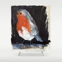 uk Shower Curtains featuring Robin Wild UK Garden Bird Acrylics On Paper by James Peart