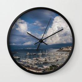 Italy Ischia Port of Casamicciola Sky ship Bay Marinas Houses Clouds Cities Ships Pier Berth Building Wall Clock