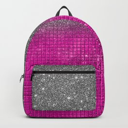 Sparkly Hot Pink & Silver Glitter Gradient Backpack