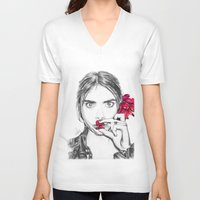 cara V-neck T-shirts featuring CARA  by Roxanne Jade Dentry