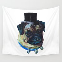 pugs Wall Tapestries featuring Sir Pugs by Bonnie J. Breedlove