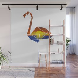 Flamingo over sunset painting Wall Mural