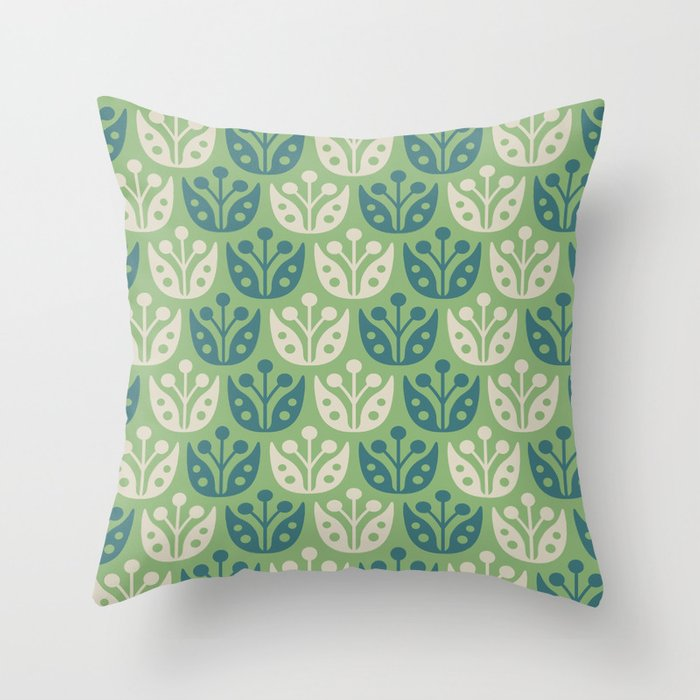 Mid Century Modern Flower Pattern Sage and Teal 112 Throw Pillow