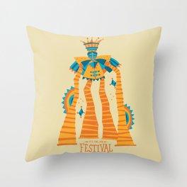 Festival Stilt Walker Throw Pillow