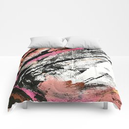 Motivation: a colorful, vibrant abstract piece in pink red, gold, black and white Comforters