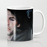 vampire diaries Mugs featuring Ian Somerhalder (Damon from Vampire Diaries) by Britanee LeeAnn Sickles