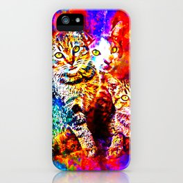 cat trio splatter watercolor colorful background iPhone Case