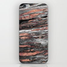 Modern rose gold abstract marbleized paint iPhone & iPod Skin
