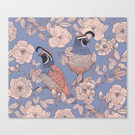 Quail and Wild Roses Canvas Print