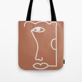 Woman Face, Burnt Orange, Minimal Line Drawing Tote Bag