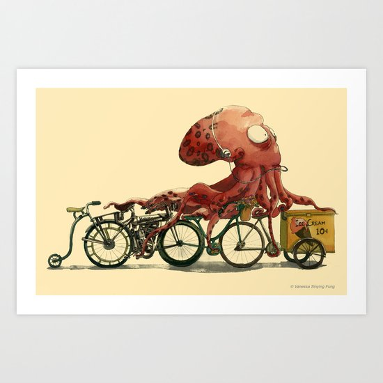 Octopus in Hurry Art Print