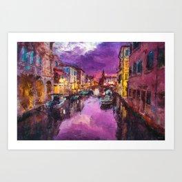 Twilight On Venice Canal Art Print