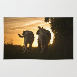Canine Sunset Silhouettes Rug