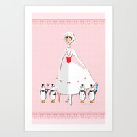 mary poppins Art Prints featuring Mary Poppins by AmadeuxArt