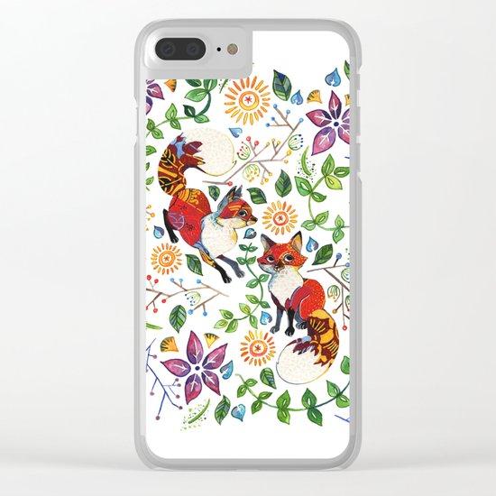 Fox Pattern Clear iPhone Case
