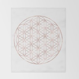 Mandala Rose Gold Flower of Life Throw Blanket