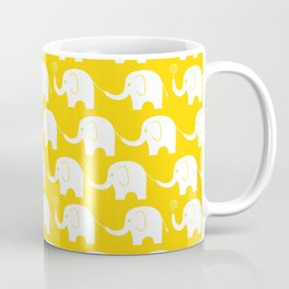 Elephant Parade on Yellow Coffee Mug