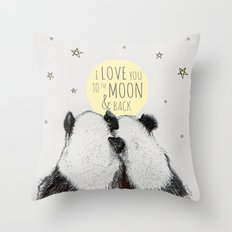 Pandas love to the moon & back Throw Pillow