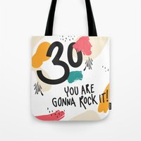 30 rock Tote Bags featuring 30 you are gonna rock it! by Urban Emotions