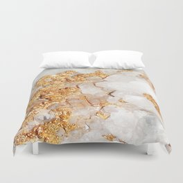 White and Rose Gold Crystal Duvet Cover