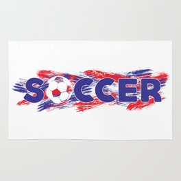 Soccer Red, White and Blue Rug