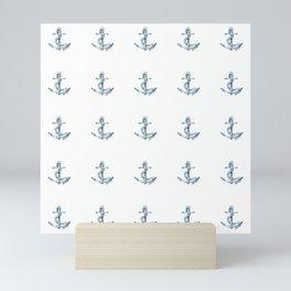 Nautical Seafarer Anchor Retro Seamless Pattern Mini Art Print