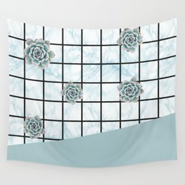 Succulents geometric composition - Mint Green Wall Tapestry