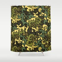 military Shower Curtains featuring Military pattern. by Julia Badeeva