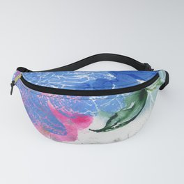 blue dahlia in abstract N.o 1  Fanny Pack