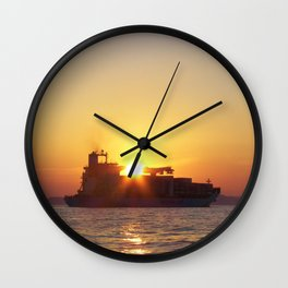 Container Ship At Sunset Wall Clock