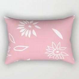 Powder Pink Floral Shapes 2 Rectangular Pillow