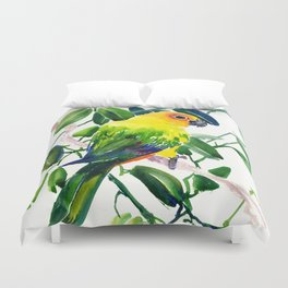 Sun Conure Parakeet, jungle tropical colors, parrot yellow deep green bright colored home decor Duvet Cover