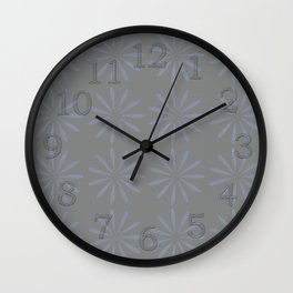 Blue Grey Floral Pattern Wall Clock