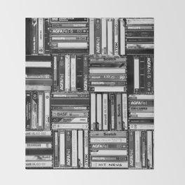 Music Cassette Stacks - Black and White - Something Nostalgic IV #decor #society6 #buyart Throw Blanket