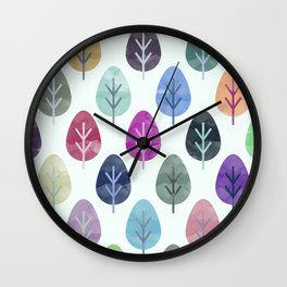 Watercolor Forest Pattern Wall Clock