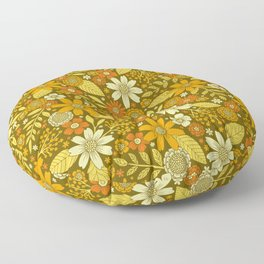 1970s Retro Flowers Pattern in Yellow, Orange & Olive Green Floor Pillow