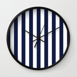 Maritime pattern- darkblue stripes on clear white - vertical Wall Clock