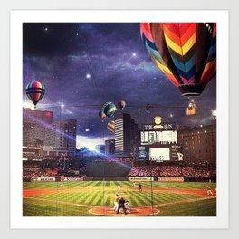 As the Baseball Floats On Art Print