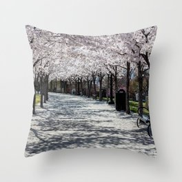 Cherry Blossoms Bloom along Sandy Path at Utah State Capitol Throw Pillow