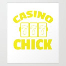 Awesome Casino Chick 7-7-7 Gambling Art Print