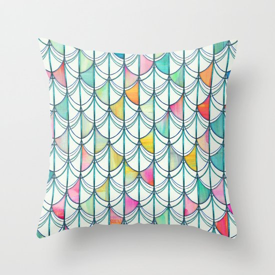 Pencil & Paint Fish Scale Cutout Pattern - white, teal, yellow & pink Throw Pillow