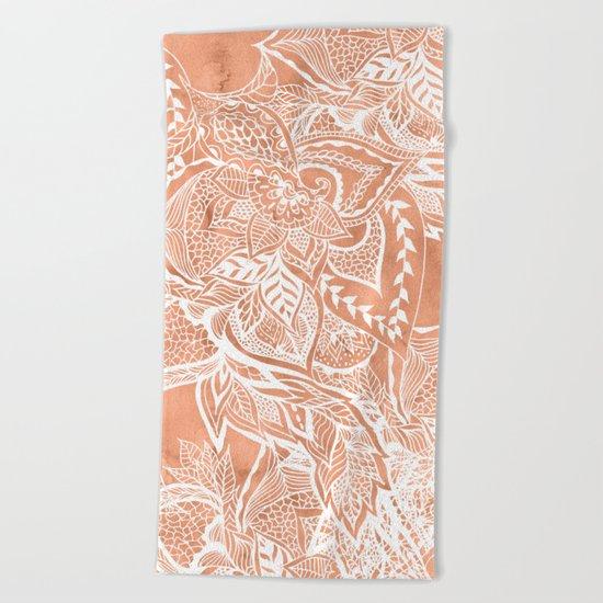 Modern tan copper terracotta watercolor floral white boho hand drawn pattern Beach Towel
