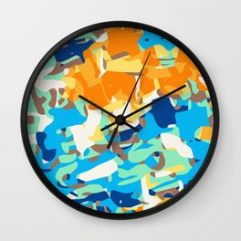 brown orange blue and dark blue dirty painting abstract background Wall Clock