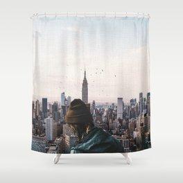 Above New York City-Skyline Views and Birds Shower Curtain