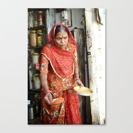 Woman with Spices, Udaipur, India Canvas Print