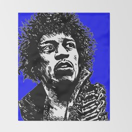 Jimi Hendrix Pop-Art (Blue) Throw Blanket