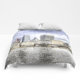 City of London and River Thames Snow Art Comforters